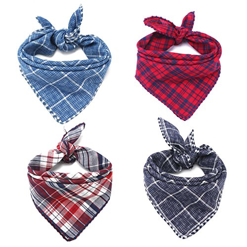 (Segarty Dog Bandanas, 4PCS Triangle Bibs Reversible Plaid Printing Dog Kerchief Set, Scarfs Accessories for Small to Large Dogs Cats Pets)