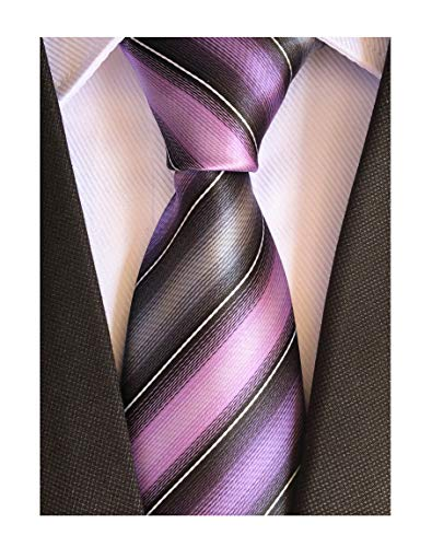 Men's Violet Purple Grey Ties Striped Patterned Wedding Silk Neckties Best Gift