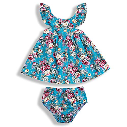 2pcs Toddler Baby Girl Floral Ruffle Fly Sleeve Holiday Shirts Dress + Shorts Outfits Sunsuit Set (Floral, 6-12 Months) ()