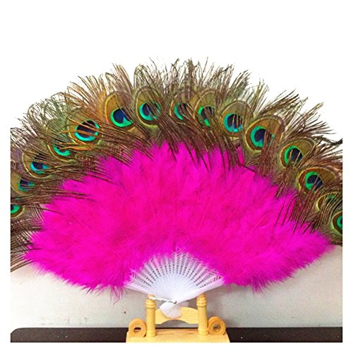 [adidu Peacock Fan Belly Dance Accessories Hand Foldable Feather Fan for Belly Dance, Performance (rose] (Dance Fans Costumes Accessories)