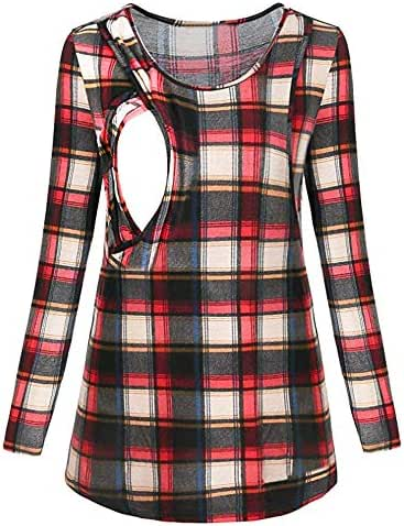 Simayixx Women's Nursing Maternity Long Sleeves Pullover Plaid Breastfeeding Sweatshirts Clothes