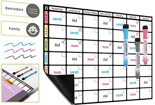 A3 Magnetic Dry Wipe Chore Chart Whiteboard *Colour Version