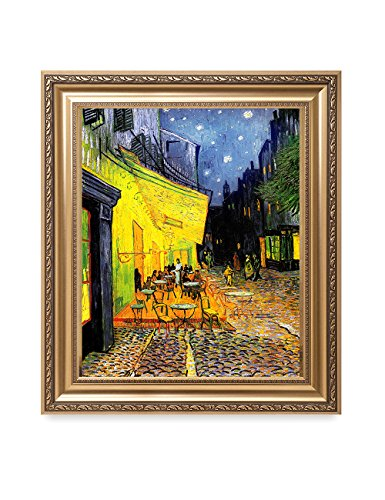 DECORARTS - Cafe Terrace at Night, Vincent Van Gogh Classic Art. Giclee Print & Framed Art for Wall Decor. Framed Size: 30x26 ()