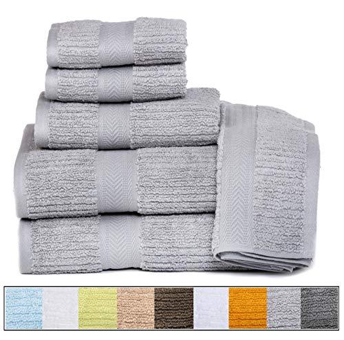 ELEGANCE SPA CASA LINO Quick Dry Towels 100% Cotton Zero Twist Towel Set 6-Piece, Soft Absorbent, spa Towels 2 Bath Towels, 2 Hand Towels, 2 Face Towels Set (Silver)