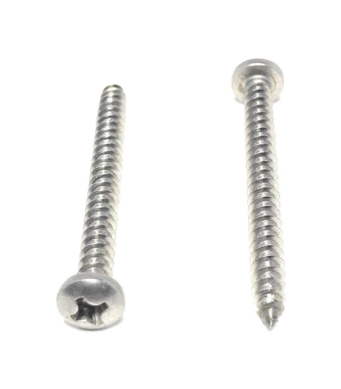 Box of 100 # 6 X 3//8 Stainless Steel Pan Head Phillips Sheet Metal Screws