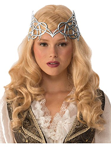 Forum Novelties Adult's Womens Royal Medieval Times Silver Crown with Gold Ribbon Tie Costume Accessory ()
