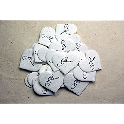 Grow Heart Shape Seed Embedded Cotton Handmade Paper Tags (Set of 50): Home & Kitchen