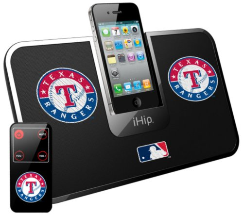 iHip Official MLB - TEXAS RANGERS - Portable iDock Stereo Speaker with Wireless Remote MLV5000TX