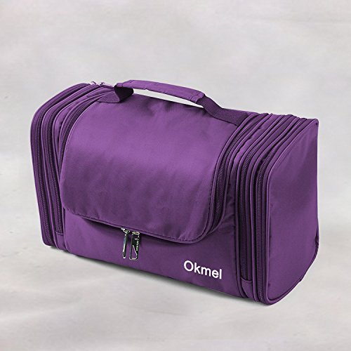 Okmel Toiletry Bag/Makeup Organizer/Cosmetic Bag/Portable Travel Kit Organizer/Household Storage Pack/Bathroom Storage with Hanging for Business, Vacation, Household - Purple by Okmel