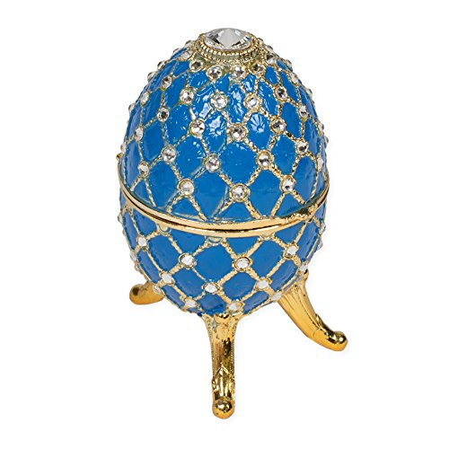 Periwinkle Blue Faberge Egg Shaped Metal Musical Figurine Plays Waltz of the (Faberge Czar Imperial)