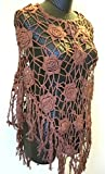 Vintage Loose Knit Crochet Fringe Poncho Swim Cover Pool Drape Top brown
