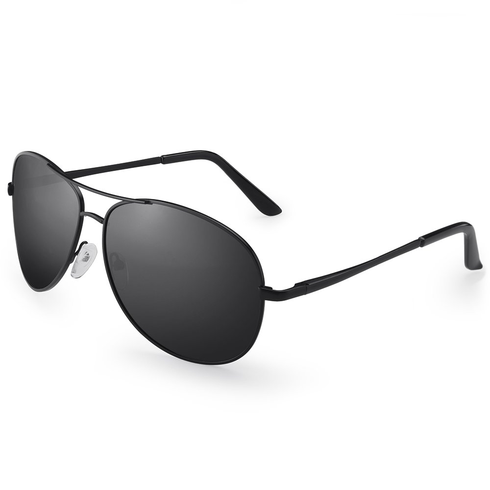 IALUKU Aviator Sunglasses Polarized for Men Classic Pilot Metal Frame UV400 (Black / Grey, 64mm)