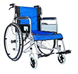 Culver Led Durable Lightweight Manual Handbrake Portable Medical Mobility Wheelchair 17.7'' Seat 29 Lbs (Blue)