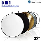 """LimoStudio 32"""" 5-in-1 Photography Collapsible Light Disc Reflector, 5 Colors White, Black, Silver, Gold, Translucent, AGG807"""