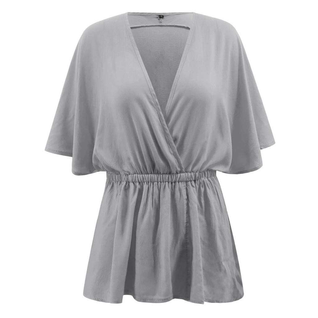 Leisuraly 2019 Hot!!Women Fashion Tops,Casual Deep V-Neck Half Bat Sleeve Tops,Solid Smocked Hem Loose Chemise Blouse Tee