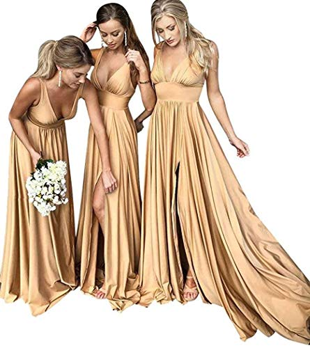 MARSEN Bridesmaid Dress V Neck Backless 2018 Women Formal Empire Waist Prom Gown with Silt Gold Size 8 (Silk Long Dress)