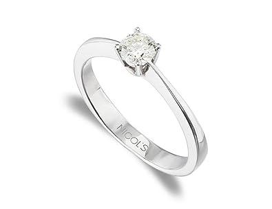 NICOLS 9992826 - Anillo de Compromiso Isabella Oro Blanco (18kt) con Diamante 0.05 Ct