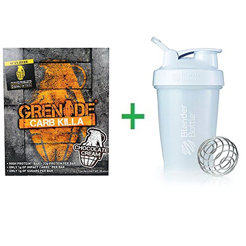 [Grenade, Carb Killa, High Protein Bar, Chocolate Cream, 12 Bars, 2.12 oz (60 g) Each+ Shaker Bottle Assorted Colors 20 Oz] (2.12 Ounce Package)