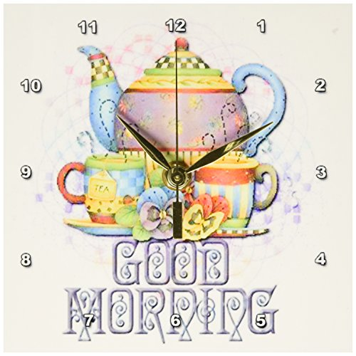3dRose dc_162136_1 Beautiful Patterned Colorful Teapot Set for That Good Morning Message to a Friend-Desk Clock, 6 by 6-Inch