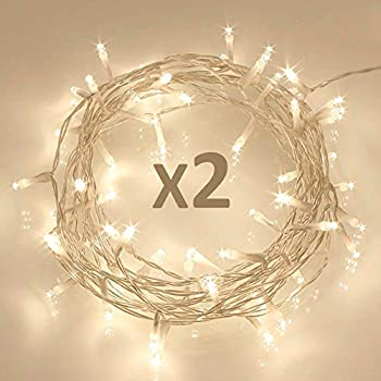 [2 Pack] 40 LED Outdoor [Timer] Battery Fairy Lights on 5M String Cable - (8 Modes, 120 Hours of Lighting,IP65 Waterproof, Warm White)