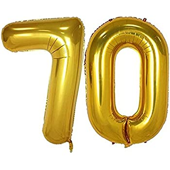 40inch Gold Foil 70 Helium Jumbo Digital Number Balloons 70th Birthday Decoration For Women Or