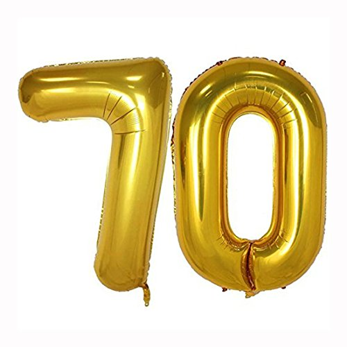 40inch Gold Foil 70 Helium Jumbo Digital Number Balloons, 70th Birthday Decoration for Women or Men, 70 Year Old Birthday Party Supplies ()