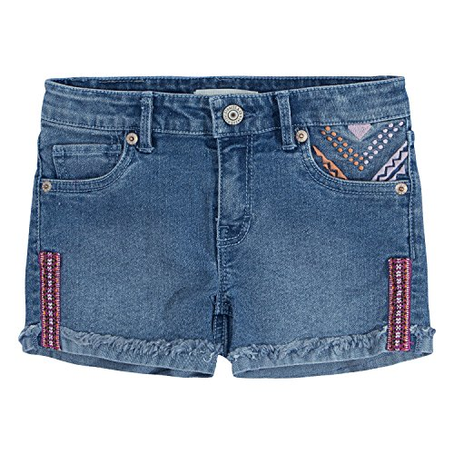 Embroidered Stretch Shorts (Levi's Toddler Girls' Embroidered Shorty Shorts, Clean Blue, 4T)