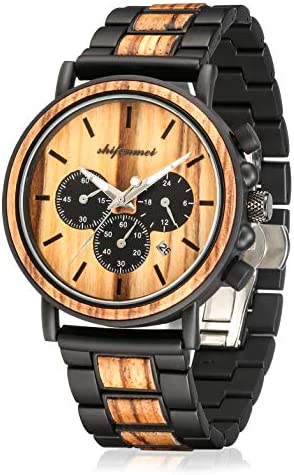 Wooden Watches Mens, shifenmei S5588 Multifunctional Business Causal Wood Watches Handmade Men s Wood Watch Quartz Wristwatches with Chronograph, Gift Box