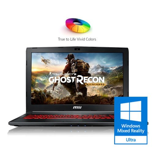"MSI GL62M 7REX-1896US 15.6"" Full HD Thin and Light Gaming Laptop Computer Quad Core i7-7700HQ, GeForce GTX 1050Ti 4G Graphics, 8GB DRAM, 128GB SSD + 1TB Hard Drive, Steelseries Red Backlit Keyboard"