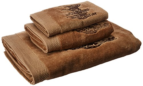 Horse Decor Kitchen (HiEnd Accents 3-Horse Embroidered Western Towel Set, Mocha)