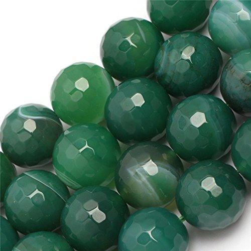 Semi Stone Agate Precious (Joe Foreman Stripe Green Agate Beads for Jewelry Making Natural Gemstone Semi Precious 14mm Round Faceted 15