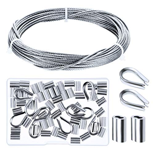 Canomo Cable Railing Kits Includes 1/16 inch x 33 Feet Stainless Steel Wire Rope Cable, 50 Pieces Aluminum Crimping Sleeves and 10 Pieces Stainless Steel Thimble for Railing,Decking, Picture Hanging ()