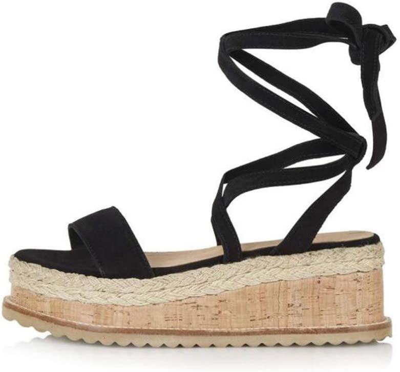 WensLTD Womens Chic Roman Shoes Platform Woven Thick-Bottom Waterproof Wedge Sandals