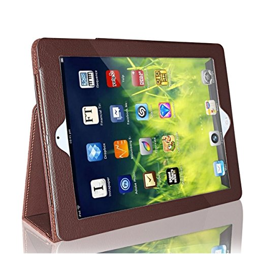 iPad 4/3/2 Case, GARUNK Litchi Pattern Leather Stand Case Cover for Apple iPad 2/3/4 iPad 2nd 3rd 4th Genernation 9.7 inch (Brown)