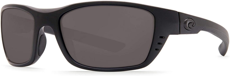 Costa Del Mar Men's Whitetip Rectangular Sunglass Readers, Blackout/Grey Polarized C-Mate-580P, 58 mm + 1.5