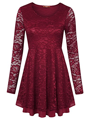 Gaharu Floral Lace Tops, Womens Sheer Full Lace Blouse Long Sleeve Flared Hem A Line Flowy Layered Peplum Tunic(XX-Large,Wine)