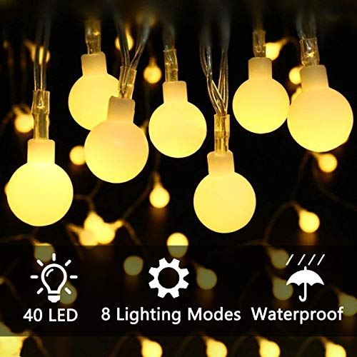 ECOWHO LED String Lights, 40 LED 15ft Fairy Lights Battery Operated String Starry Lights with 8 Lighting Modes for Garden Patio Wedding Party Home Decoration(Warm White) 15' Led Light String