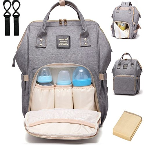 Stroller Oxford - Diaper Bag Backpack, Multi-Function Waterproof Baby Diaper Bag with Changing Pad and Stroller Straps, Durable Stylish & Large Capacity (Gray)