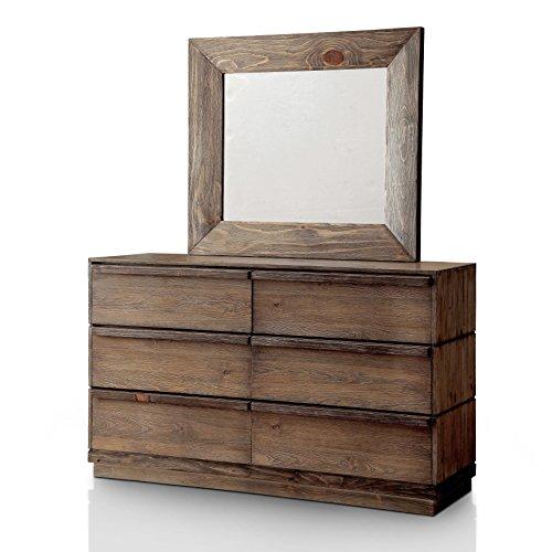 Pine Canopy - Furniture of America Pine Canopy Aquilegia 2-Piece Rustic Natural Tone Dresser and Mirror Set