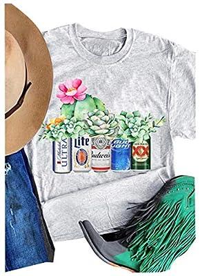 Womens Coors Light Bud Light Funny Shirt Graphic Tees Short Sleeve Tops