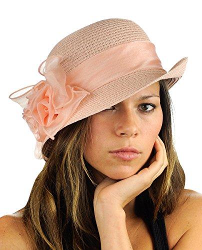 NYFASHION101 Satin Ribbon Triple Rose Band Side Flip Brim Cloche Bucket Hat