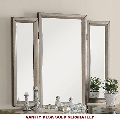 Fontaine Golden Metallic Finish Triple Vanity Mirror by Crown (Cottage Triple Dresser)