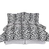Royal Tradition Zebra Print 210-Thread-Count, 100-Percent Cotton King/California King 3PC Duvet Cover Set, Black and White
