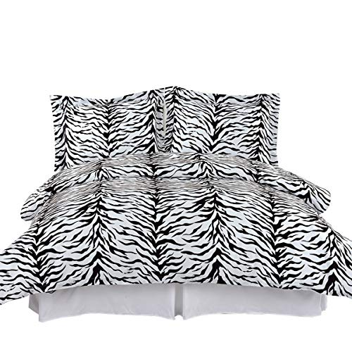 Cal King Zebra - Royal Tradition Zebra Print, 210 Thread Count-100% Cotton King/California King Duvet Cover Set, Fiber Reactive Prints Duvet Covers