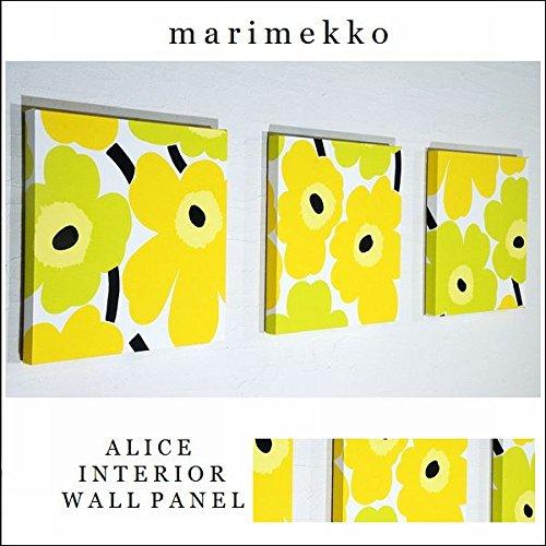 ファブリックパネル アリス marimekko PIENIUNIKKO ピエニウニッコ 30×30×2.5cm 3枚セット イエロー×グリーン マリメッコ 北欧 【同梱可】 B017X97Y4A