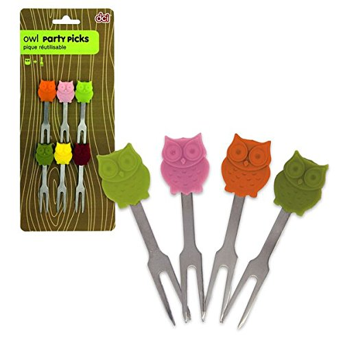 Multicolor DCI Owl Party Picks Set of 6
