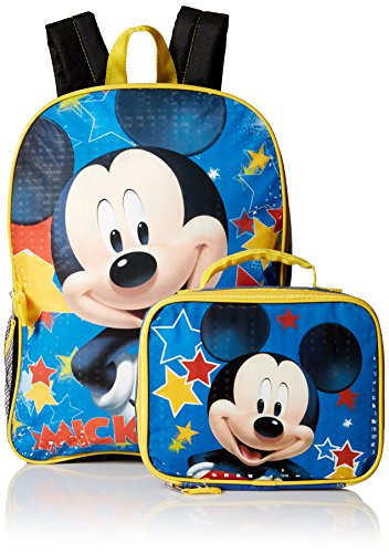 Disney Boys' Mickey Mouse Backpack with Lunch Kit, Blue/Black (Backpack For Boys Mickey Mouse)