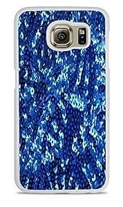 Blue Sequins Sparkles Print Pattern White Hardshell Case for Samsung Galaxy S6 EDGE