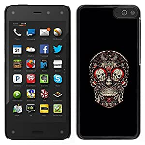 Be-Star Único Patrón Plástico Duro Fundas Cover Cubre Hard Case Cover Para Amazon Fire Phone ( Skull Red Blood Rose Floral Black )