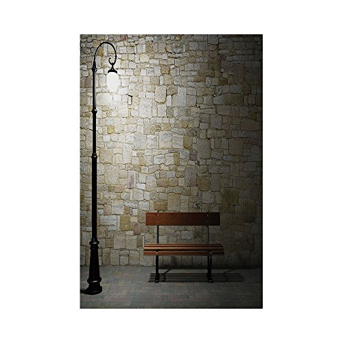 Polyester Garden Flag Outdoor Flag House Flag Banner,Street Decor,Modern Avenue at Dark Night with a Open Lamp and Bench and Stone Wall Behind Image,Multi,for Wedding Anniversary Home Outdoor Garden D